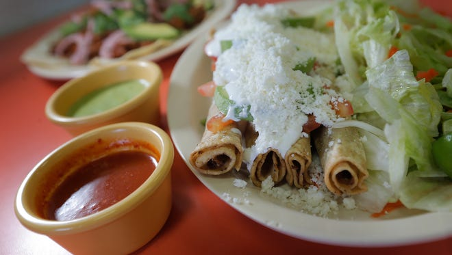Flautas y Paletería Tepalca is known for its flautas, which are generously covered in sour cream, avocado and queso fresco, with several choices of salsas.
