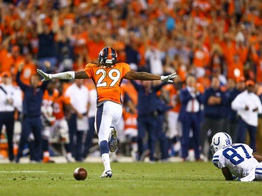 Cornerback Bradley Roby of the Denver Broncos celebrates a play Sept. 7.