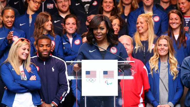 First Lady Michelle Obama speaks during Team USA's Road to Rio Tour presented by Liberty Mutual on April 27, 2016 in New York City.