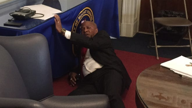 Mount Vernon City Clerk George Brown after falling during an argument at City Hall.