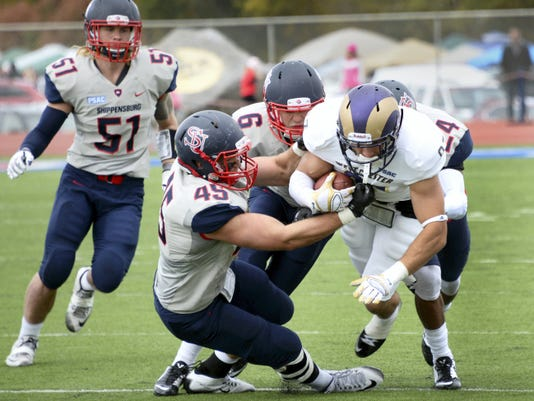 Shippensburg University's Cortlin Dell has played in two games this season after recovering from a torn ACL suffered about six months ago. He earned his first start Saturday, helping the Raiders to a 27-11 victory against West Chester.