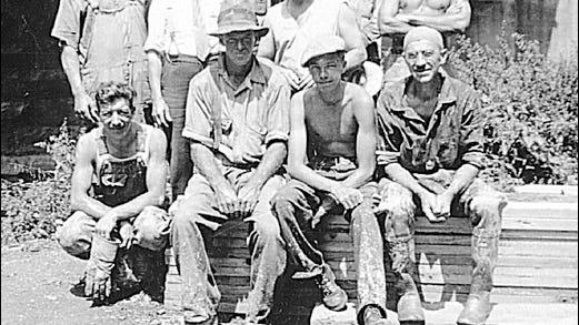 Pennsylvania Railroad Construction Gang at Bridge No. 59-43 (Black Bridge) on July 5, 1934 (Collection of S. H. Smith)
