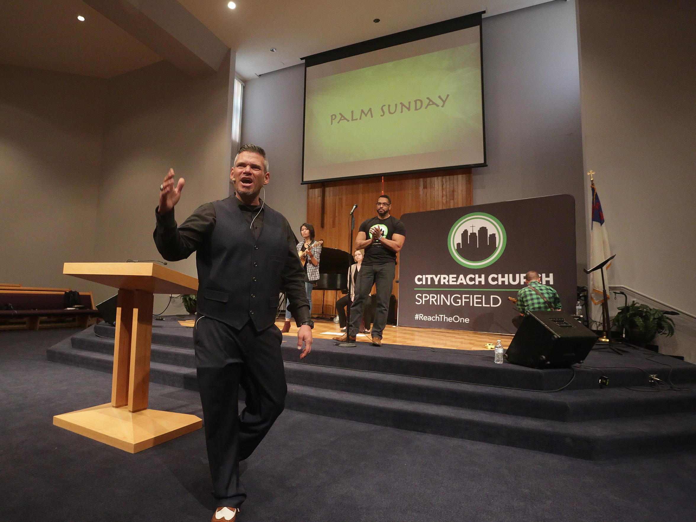 Newly formed CityReach Church is led by Pastor John Alarid and his wife, Hannah. Pastor John Alarid delivers a passionate sermon.