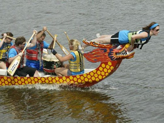 Dragon boat races in the Sheboygan River are an annual