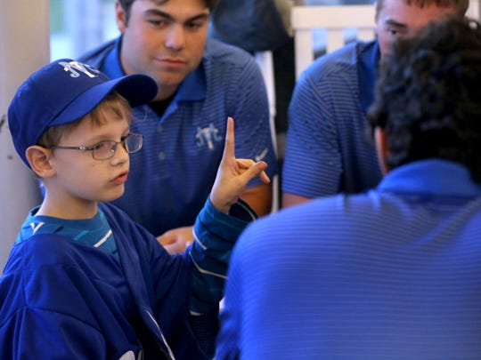 Luke Denson, who has Shwachman-Diamond syndrome, signed a letter of intent with the MTSU baseball team during a signing ceremony at MTSU's Kennon Sports Hall of Fame Building on Nov. 6, 2014. Denson was paired up with MTSU baseball through Team IMPACT.