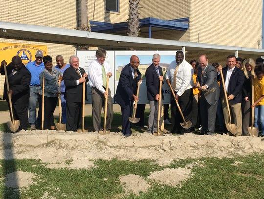 Monroe City Schools held a groundbreaking ceremony
