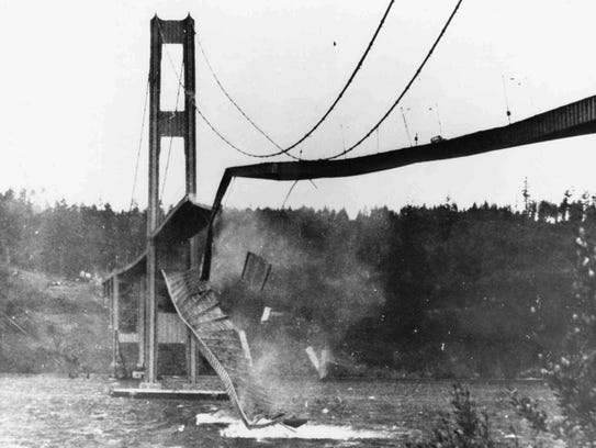 "The Tacoma Narrows Bridge, nicknamed ""Galloping Gertie,"""
