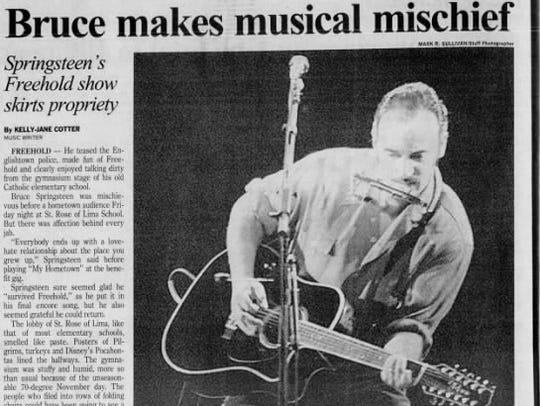 Asbury Park Press story about Springsteen's Nov. 8.