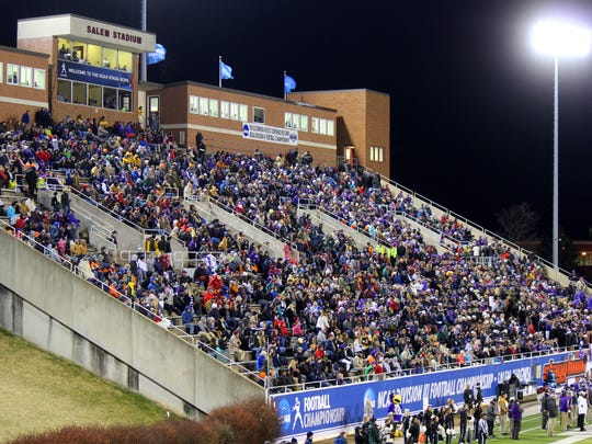 Salem Football Stadium will be the site of this year's Class 1 and 2 VHSL state football championship games.