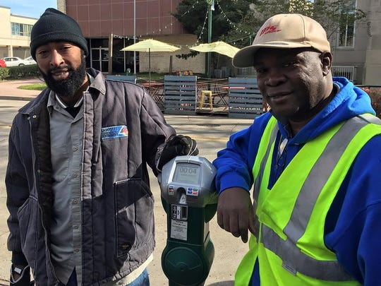 """We're in the middle of a mad experiment, Lafayette! Downtown """"smart"""" meters are throughout downtown."""