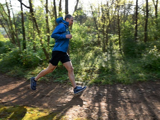 Brian Winter, a Knoxville resident, recently completed the international marathon challenge running seven marathons on seven continents in seven days. Now Winter is training Tuesday, April 17, 2018 on the trails at Ijams to run Nashville's Rock 'n' Roll Marathon.
