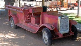 """""""Lizzy,"""" a vintage 1930 fire truck, was at Klein Park for more than 40 years. The fire truck was believed to have been Las Cruces' first pumper fire engine. City officials said the fire truck cannot be restored."""