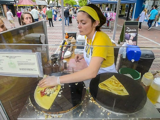 Daisy Hoagland cooks up a pair of crepes at The Skinny