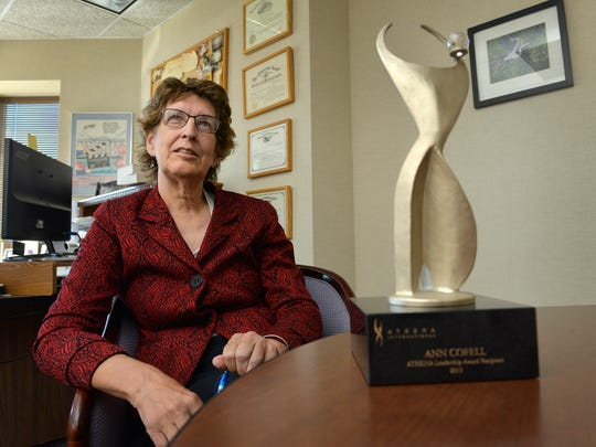 Ann Cofell, deputy director of Mid-Minnesota Legal Aid, talks Oct. 7 in her office in downtown St. Cloud. She has dedicated her 35 years with the agency to selflessly help others who don't have the resources to navigate the legal system. She is also a recipient of the Athena Leadership Award.