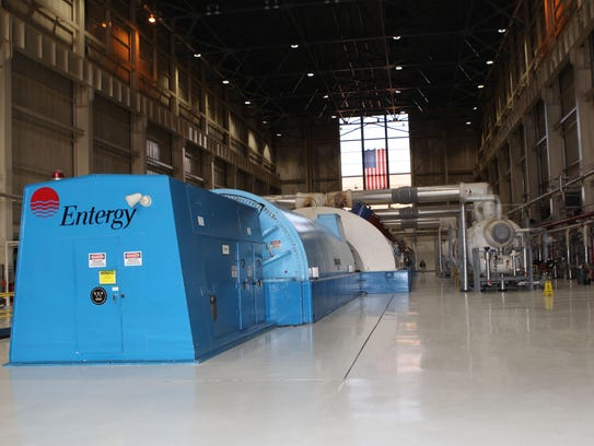 A view of the turbine in the turbine hall at Unit 3