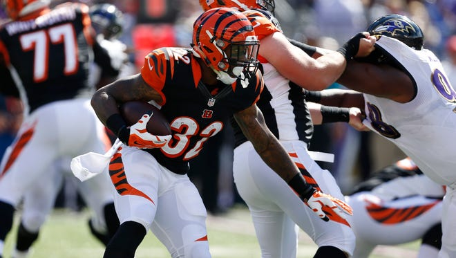 Bengals rookie RB Jeremy Hill carried just four times for 19 yards in Sunday's 23-16 win at Baltimore, but could get more work against a Falcons defense that gave up 139 rush yards.
