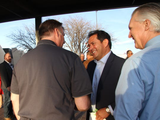 Lt. Governor John Sanchez greets people at the Roswell