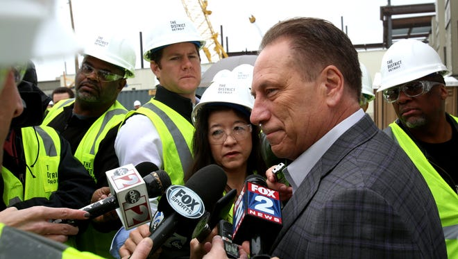 Tom Izzo talks to the media after a press conference outside of Little Caesars Arena in Detroit on Tuesday, April 25, 2017.