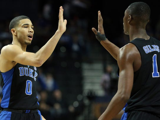 Freshmen Jayson Tatum and Harry Giles both were key