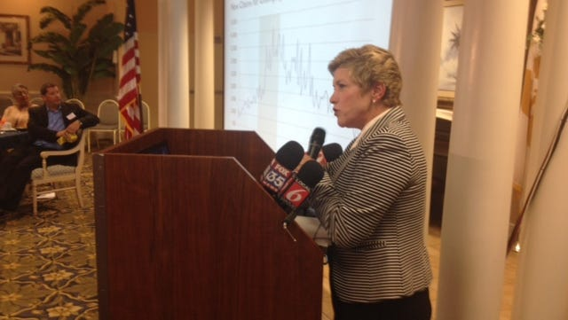 """Economic Development Commission director Lynda Weatherman speaks at Palm Bay Chamber of Commerce luncheon, but not about Project Magellan. Weatherman is  waiting on Gov. Rick Scott's """"go-ahead."""" FLORIDA TODAY reported Tuesday that Northrop Grumman is the company behind the project."""