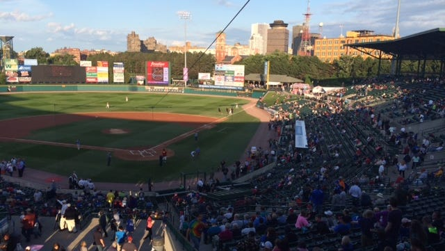 A shot from Frontier Field as crowd filled up stadium for Friday's pivotal game against the first-place Syracuse Chiefs.