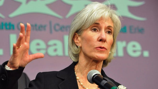Health and Human Services Secretary Kathleen Sebelius speaks at a news conference in Chicago