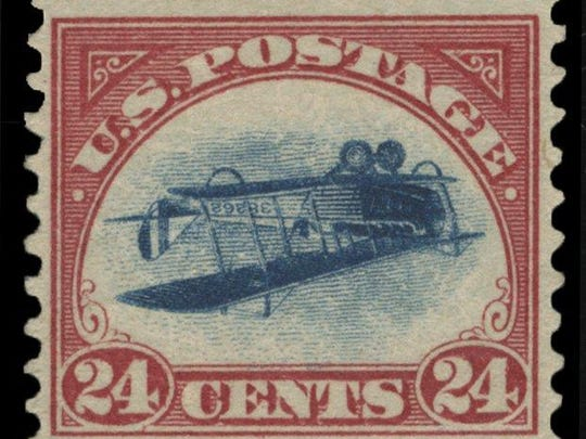 "A 1918 ""inverted Jenny"" stamp. Worth 24 cents when issued, the stamps fetch hundreds of thousands of dollars today."