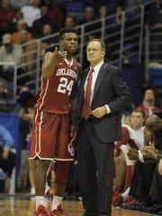 Oklahoma coach Lon Kruger, right, says his star Buddy