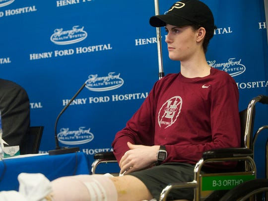 Sean English, speaks during a press conference in May 2017 at Henry Ford Hospital in Detroit. English had multiple injuries after being hit while stopping to help an overturned Jeep with his parents on the highway in April.