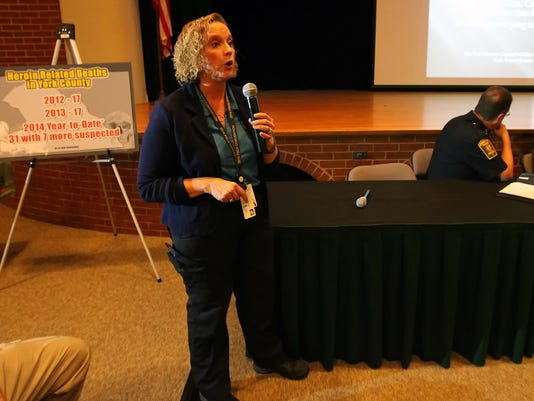 Coroner Pam Gay speaks at a heroin task force town hall meeting at the York County School of Technology in September.