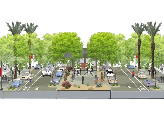 Palm Desert's new general plan will bring a new look to San Pablo Avenue that will include wider sidewalks, two rather than four lanes of traffic and bicycle lanes.