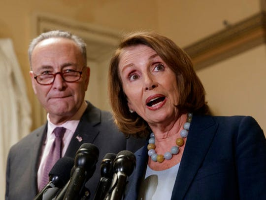 House Democratic Leader Nancy Pelosi of California, and Senate Democratic Leader Chuck Schumer of New York speak to reporters about the Congressional Budget Office projection that 14 million people would lose health coverage under the House Republican bill dismantling former President Barack Obama's health care law, on Capitol Hill in Washington, Monday, March, 13, 2017.