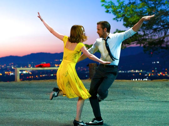 "FILE - This image released by Lionsgate shows Ryan Gosling, right, and Emma Stone in a scene from, ""La La Land."" The film won many Oscar Awards, including best actress for Emma Stone."