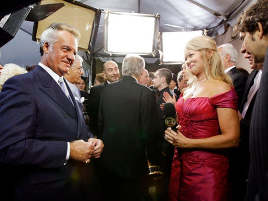 FILE - In this Sunday, Sept. 16, 2007 file photo, Tony Sirico from the TV series The Sopranos, left, talks with Entertainment Tonight reporter Mary Hart at the 59th Primetime Emmy Awards at the Shrine Auditorium in Los Angeles. Hart's legacy in entertainment news will be recognized Sunday, April 30, 2017 with a lifetime achievement award at the Daytime Emmys ceremony.