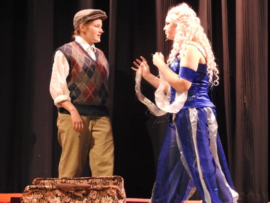 """Kenzie Potter as James and Amanda Kittel as Ladahlord in """"James and the Giant Peach"""" playing at Coshocton High School Thursday to Saturday in McKinley Auditorium."""
