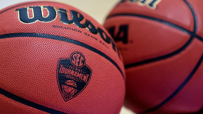 Mar 13, 2016; Nashville, TN, USA; General view of Wilson basketballs with the SEC Tournament logo prior to the championship game between the Texas A&M Aggies and the Kentucky Wildcats at Bridgestone Arena. Mandatory Credit: Christopher Hanewinckel-USA TODAY Sports