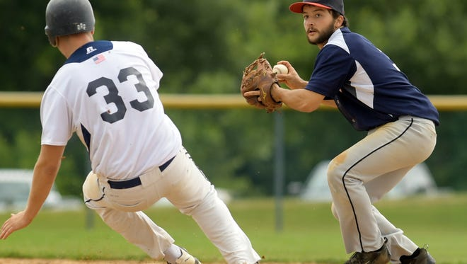 Alex Zelger, seen here at right in a file photo, had a big game in Jacobus' 12-9 victory over Windsor in Susquehanna League playoff action.