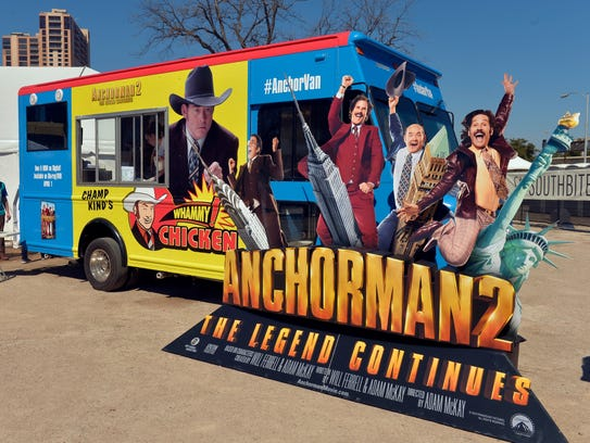 "The Anchorman 2 ""AnchorVan"" food truck stops in Austin, Texas, on March 11 to promote the movie's release on DVD."