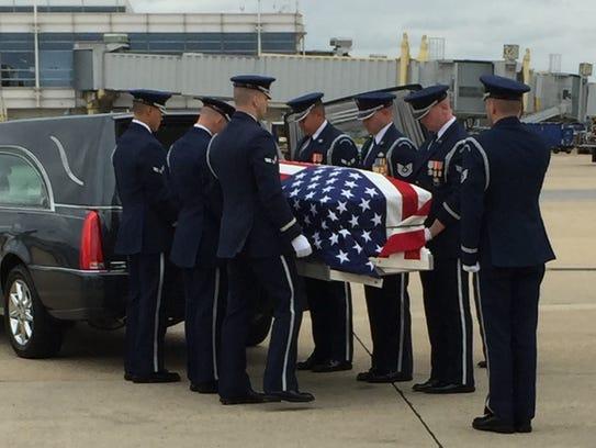 The remains of U.S. Air Force pilot David T. Dinan