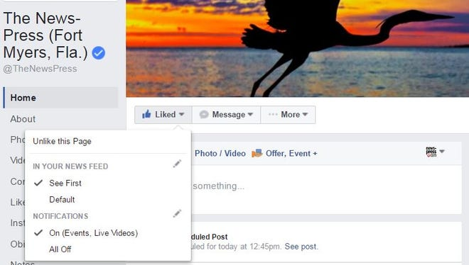 The News-Press Facebook page with 'See First' enabled to show News-Press posts in your Facebook News Feed.