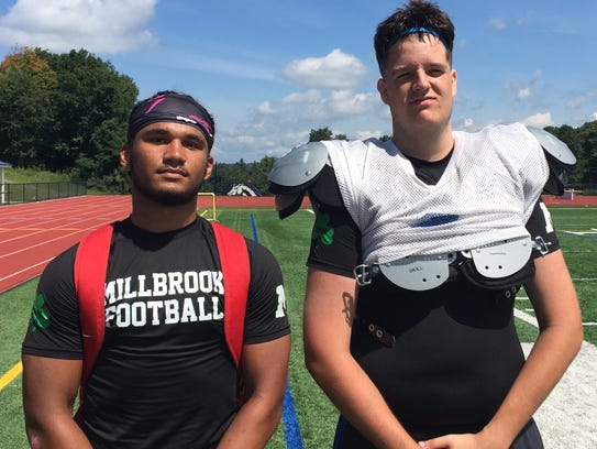 Millbrook football players Drew Jackson and Andy Outwater