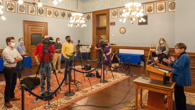 Gov. Laura Kelly speaks to the media about the latest COVID-19 updates for the state during a news conference Monday at the Statehouse.