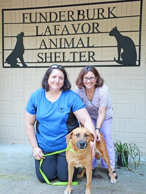 Shelter manager Marlena Ray (left) and kennel tech Tanya Bolen (right) work hard every day to care for the many animals that come through the doors of the Barnwell County Animal Shelter, including dog Brownie who is available for adoption.