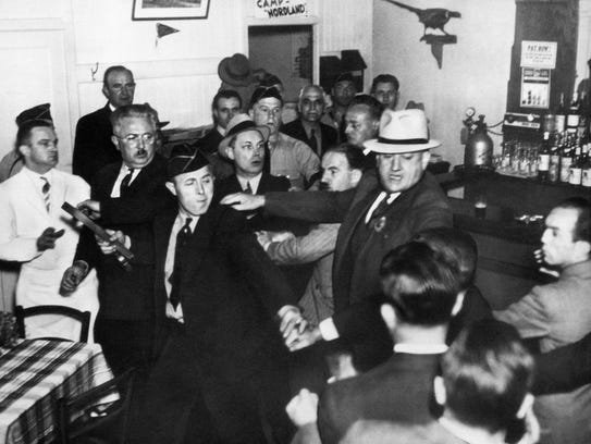 An anti-Nazi crowd rushed the bar entrance of the German-American