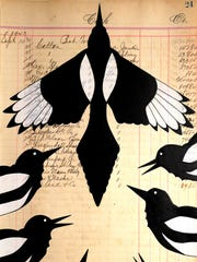 """John Pepion's ledger art piece, """"Emergence,"""" is now available on cellphone covers."""