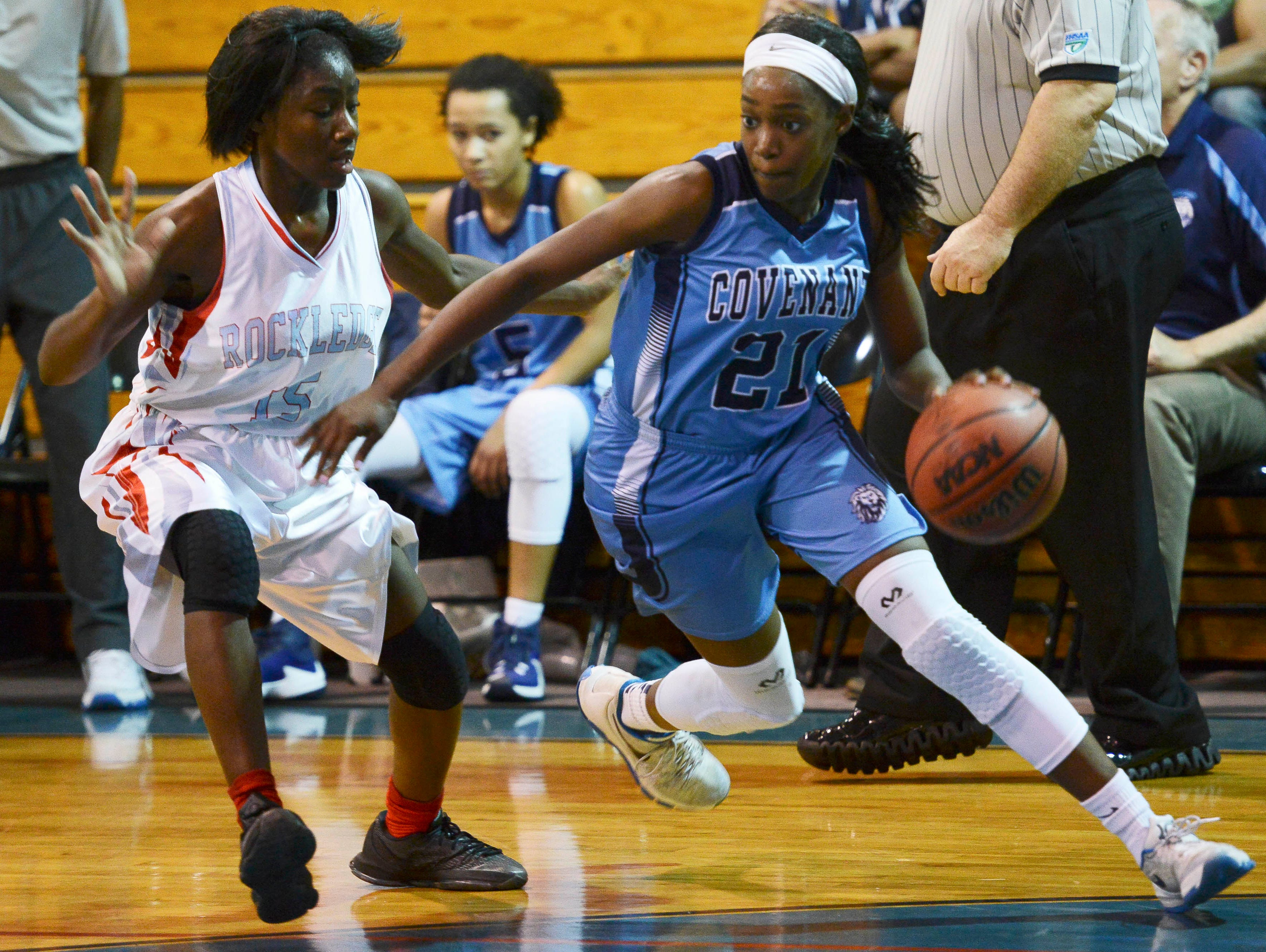 Ashanti Blakely of Rockledge guards Covenant Christian player Jayla Johnson during their game Thursday.