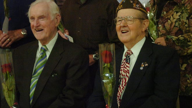 John Anhut (left) a World War II U.S. Navy veteran who earned a Purple Heart for his performance in the South Pacific and Eldon Funk.