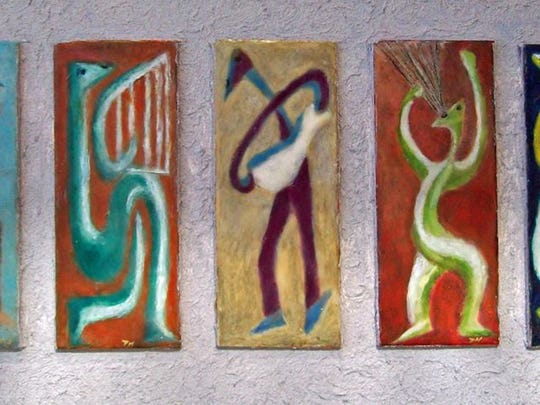 """Encaustic piece by Peg Haubert on display in an exhibit, """"Play, Sing, Dance,"""" at Above and Beyond Children's Museum, 8th St, Sheboygan thru March."""