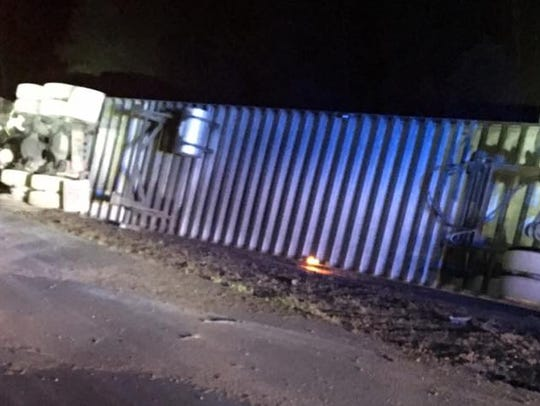A semi carrying Busch beer spilled its cargo after