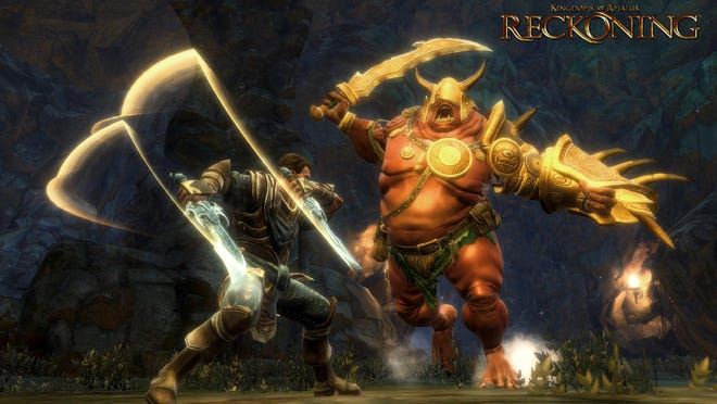 """A screenshot from 38 Studios' """"Kingdoms of Amalur: Reckoning"""" depicts a giant monster called the Bolgan."""